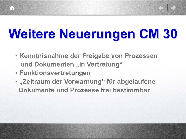 Weitere Neuerungen CM 30 Kenntnisnahme der Freigabe von Prozessen und Dokumenten in Vertretung Funktionsvertretungen Zeitraum der Vorwarnung für abgel