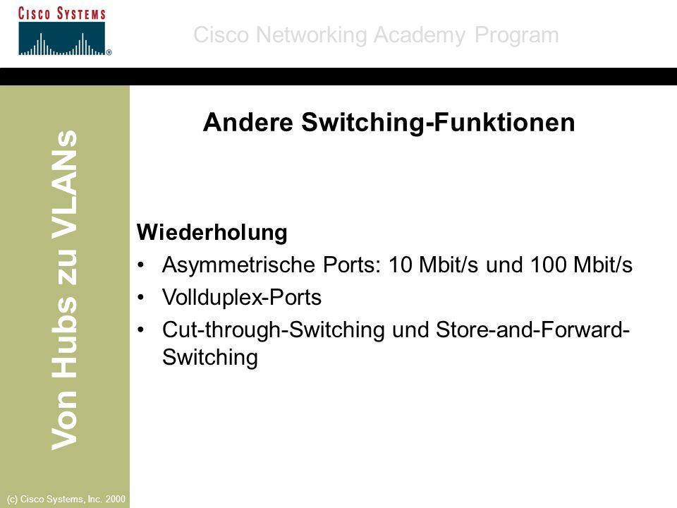Von Hubs zu VLANs Cisco Networking Academy Program (c) Cisco Systems, Inc. 2000 Andere Switching-Funktionen Wiederholung Asymmetrische Ports: 10 Mbit/