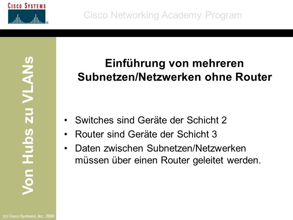 Von Hubs zu VLANs Cisco Networking Academy Program (c) Cisco Systems, Inc. 2000 Einführung von mehreren Subnetzen/Netzwerken ohne Router Switches sind