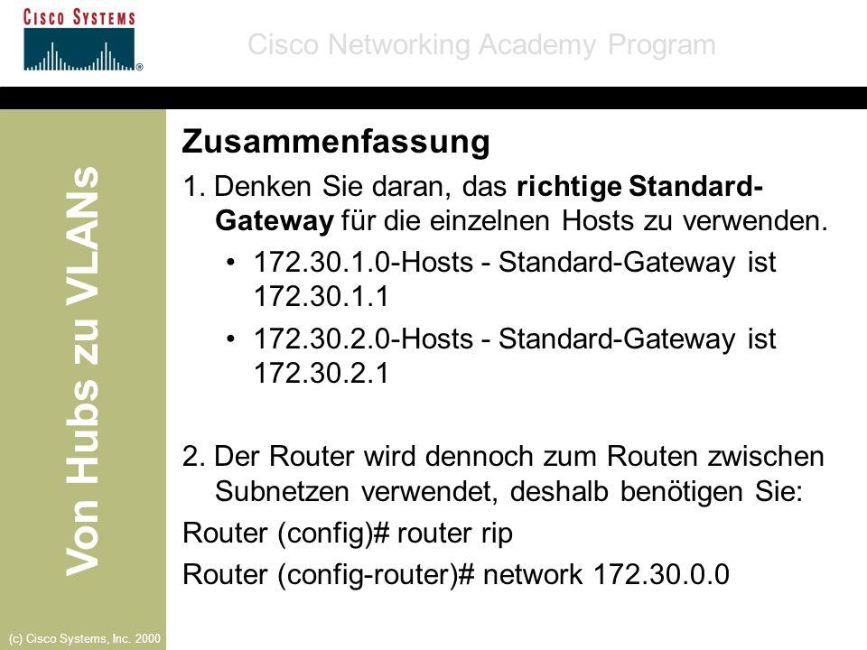 Von Hubs zu VLANs Cisco Networking Academy Program (c) Cisco Systems, Inc. 2000 Zusammenfassung 1. Denken Sie daran, das richtige Standard- Gateway fü