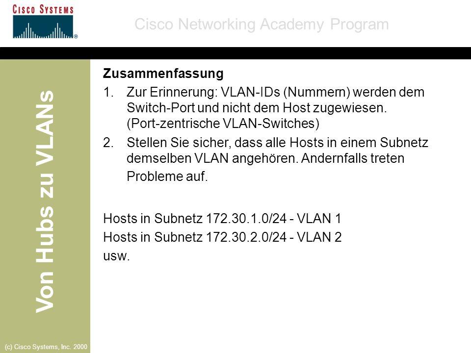Von Hubs zu VLANs Cisco Networking Academy Program (c) Cisco Systems, Inc. 2000 Zusammenfassung 1.Zur Erinnerung: VLAN-IDs (Nummern) werden dem Switch