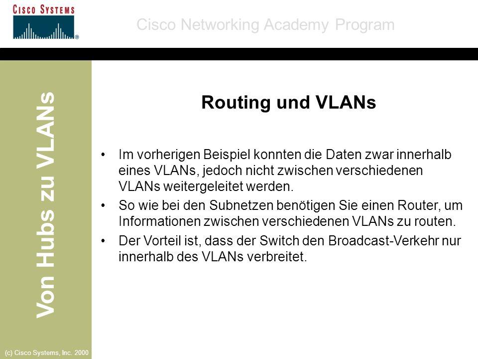 Von Hubs zu VLANs Cisco Networking Academy Program (c) Cisco Systems, Inc. 2000 Routing und VLANs Im vorherigen Beispiel konnten die Daten zwar innerh