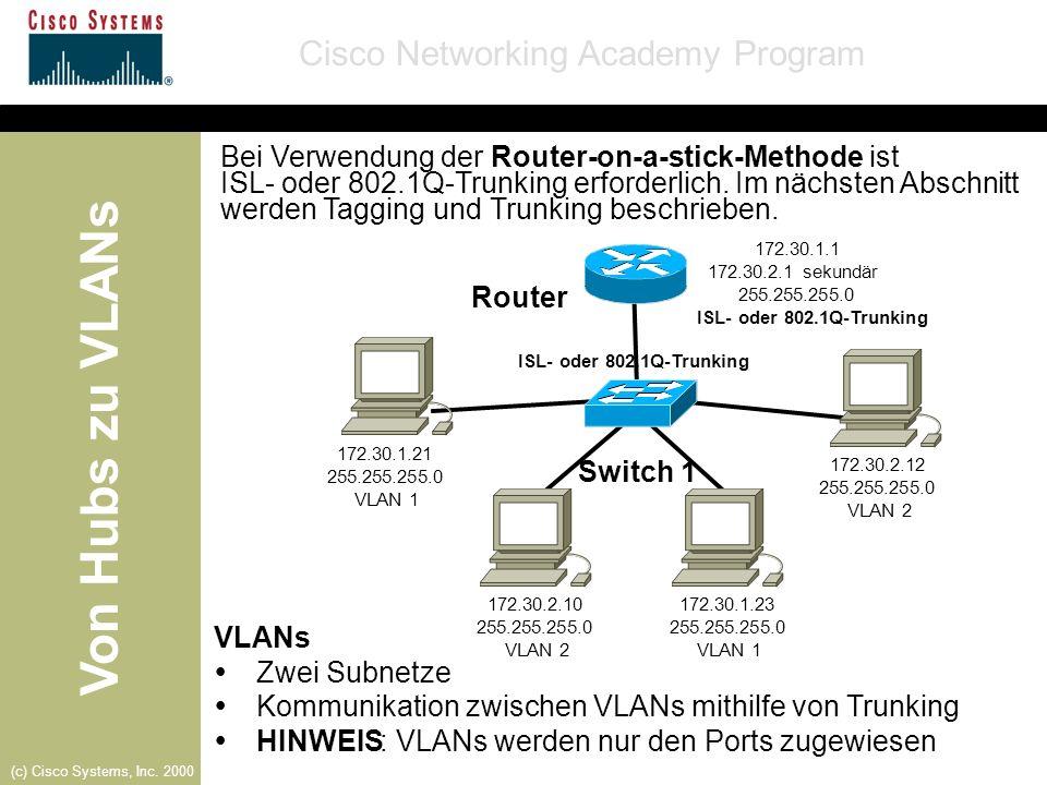 Von Hubs zu VLANs Cisco Networking Academy Program (c) Cisco Systems, Inc. 2000 Bei Verwendung der Router-on-a-stick-Methode ist ISL- oder 802.1Q-Trun