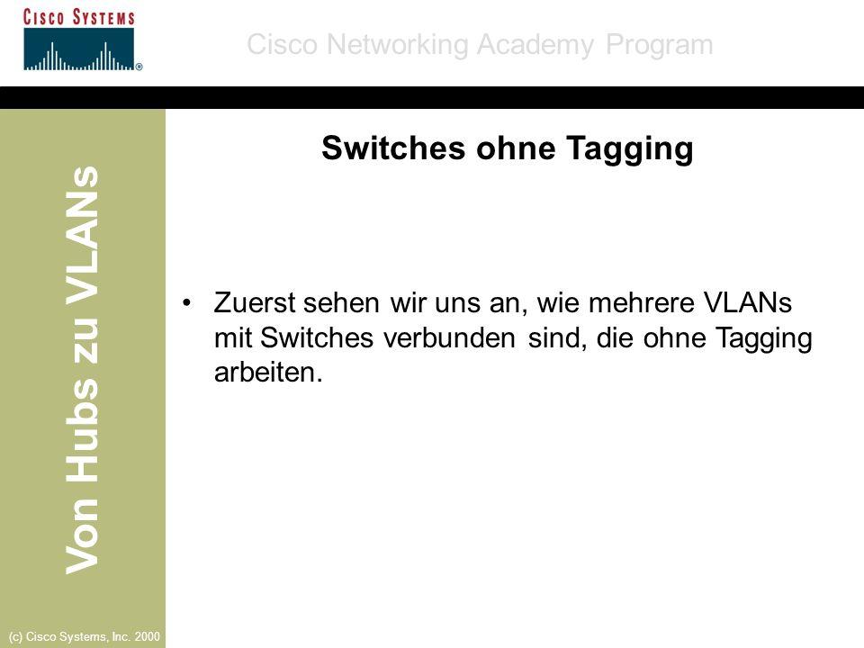 Von Hubs zu VLANs Cisco Networking Academy Program (c) Cisco Systems, Inc. 2000 Switches ohne Tagging Zuerst sehen wir uns an, wie mehrere VLANs mit S