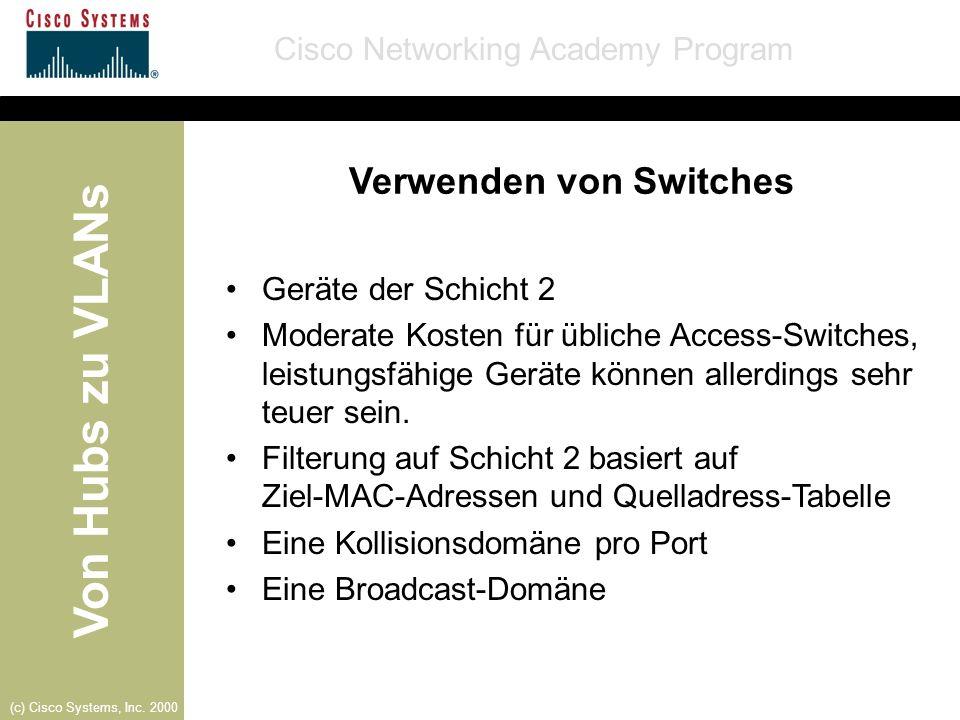 Von Hubs zu VLANs Cisco Networking Academy Program (c) Cisco Systems, Inc. 2000 Verwenden von Switches Geräte der Schicht 2 Moderate Kosten für üblich