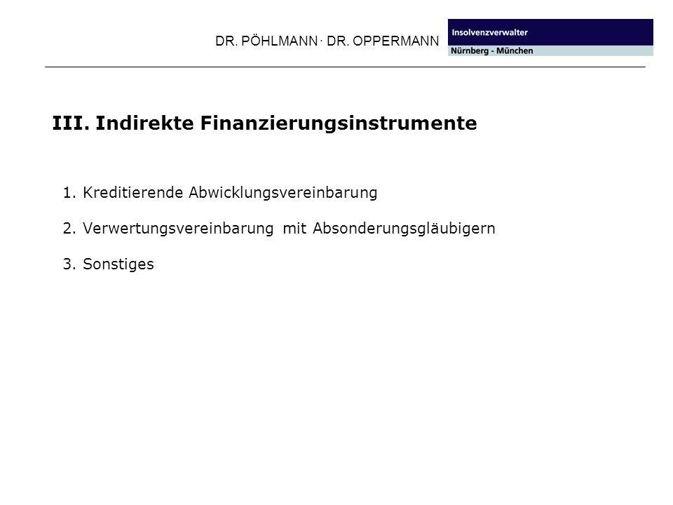 DR. PÖHLMANN · DR. OPPERMANN III. Indirekte Finanzierungsinstrumente 1. Kreditierende Abwicklungsvereinbarung 2. Verwertungsvereinbarung mit Absonderu
