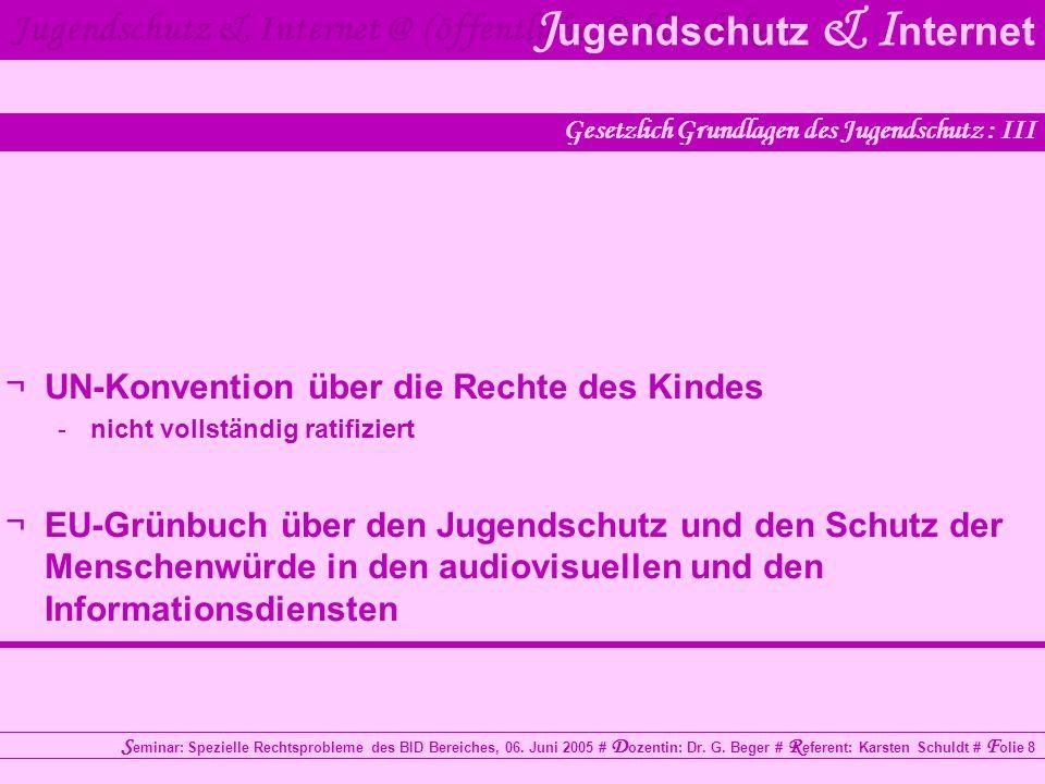 Jugendschutz & Internet @ (öffentliche) Bibliotheken J ugendschutz & I nternet S eminar: Spezielle Rechtsprobleme des BID Bereiches, 06. Juni 2005 # D