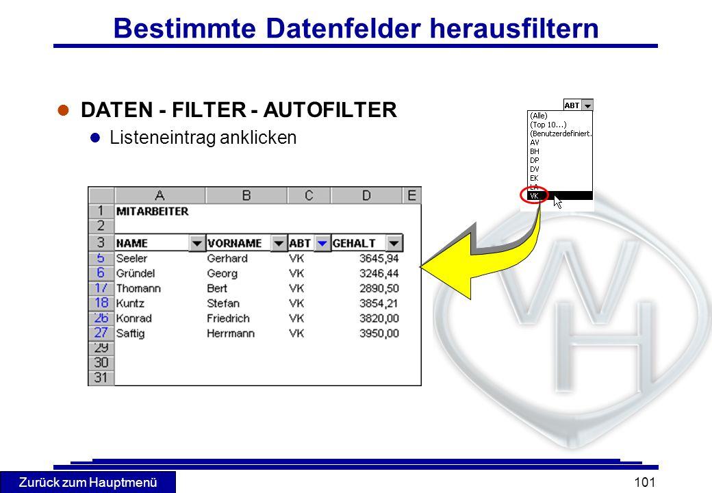 Zurück zum Hauptmenü 101 Bestimmte Datenfelder herausfiltern l DATEN - FILTER - AUTOFILTER l Listeneintrag anklicken