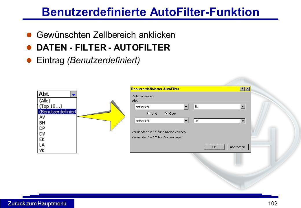 Zurück zum Hauptmenü 102 Benutzerdefinierte AutoFilter-Funktion l Gewünschten Zellbereich anklicken l DATEN - FILTER - AUTOFILTER l Eintrag (Benutzerd