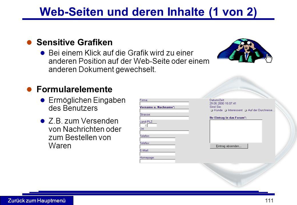 Zurück zum Hauptmenü 111 l Sensitive Grafiken l Bei einem Klick auf die Grafik wird zu einer anderen Position auf der Web-Seite oder einem anderen Dok