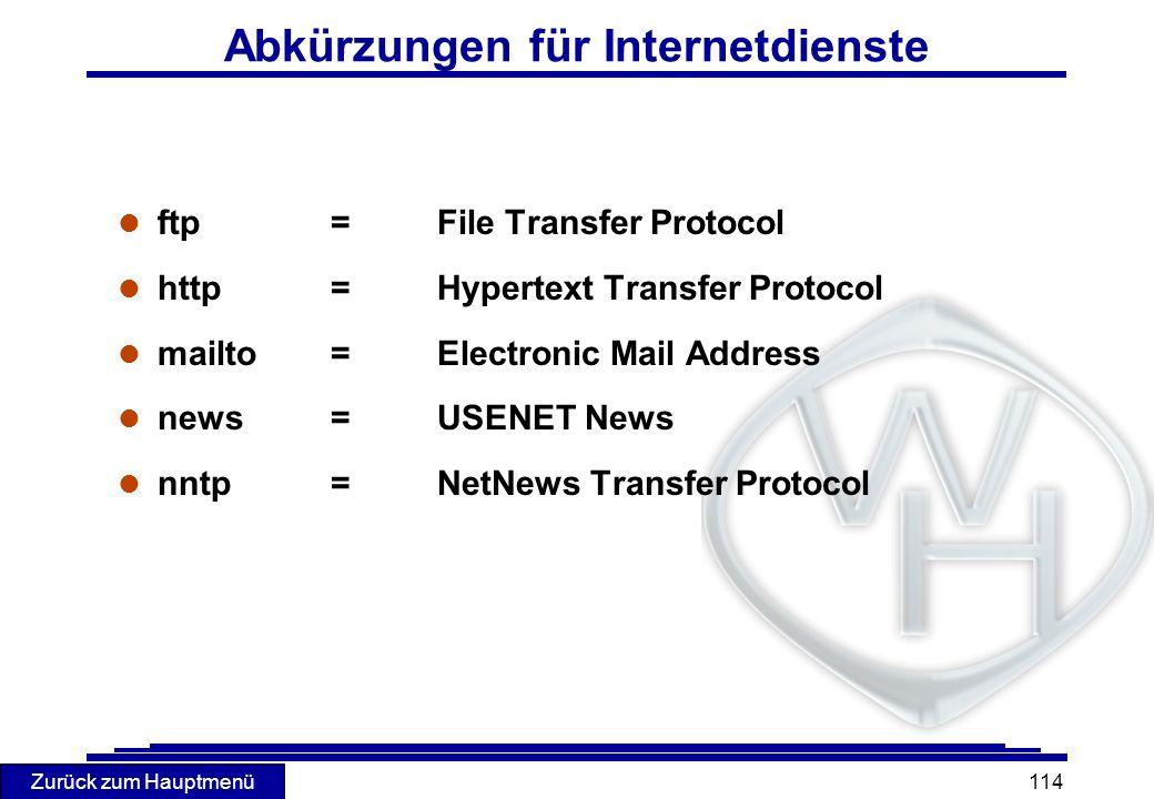 Zurück zum Hauptmenü 114 l ftp= File Transfer Protocol l http= Hypertext Transfer Protocol l mailto= Electronic Mail Address l news= USENET News l nnt