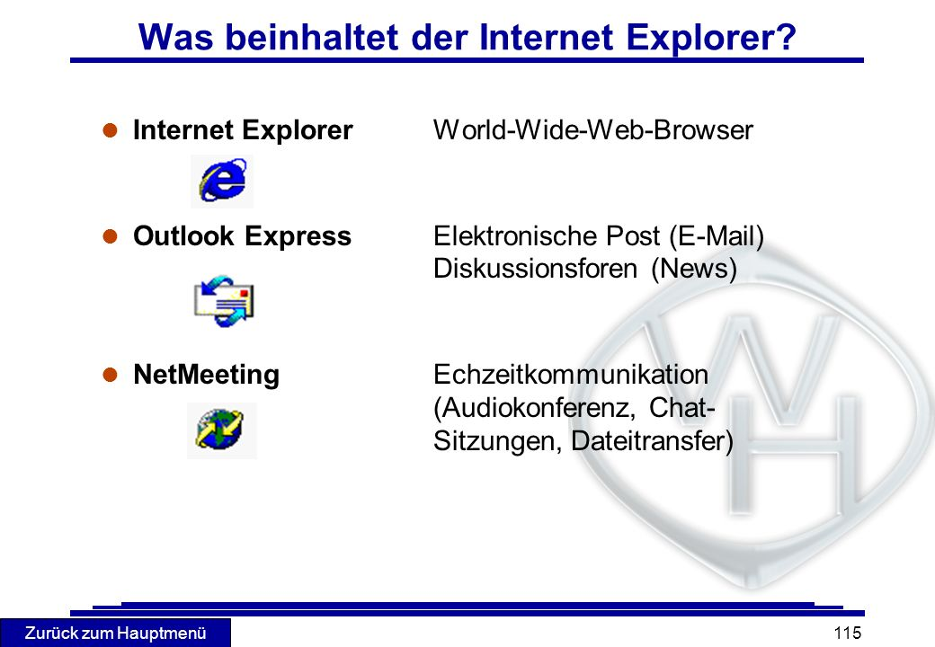 Zurück zum Hauptmenü 115 Was beinhaltet der Internet Explorer? l Internet ExplorerWorld-Wide-Web-Browser l Outlook ExpressElektronische Post (E-Mail)