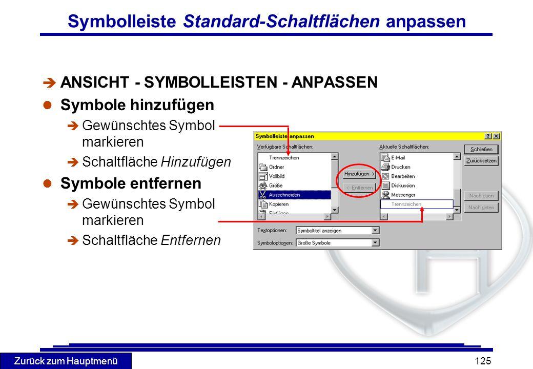 Zurück zum Hauptmenü 125 Symbolleiste Standard-Schaltflächen anpassen è ANSICHT - SYMBOLLEISTEN - ANPASSEN l Symbole hinzufügen è Gewünschtes Symbol m