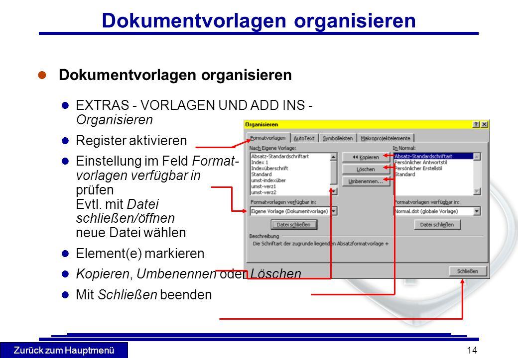 Zurück zum Hauptmenü 14 Dokumentvorlagen organisieren l Dokumentvorlagen organisieren l EXTRAS - VORLAGEN UND ADD INS - Organisieren l Register aktivi