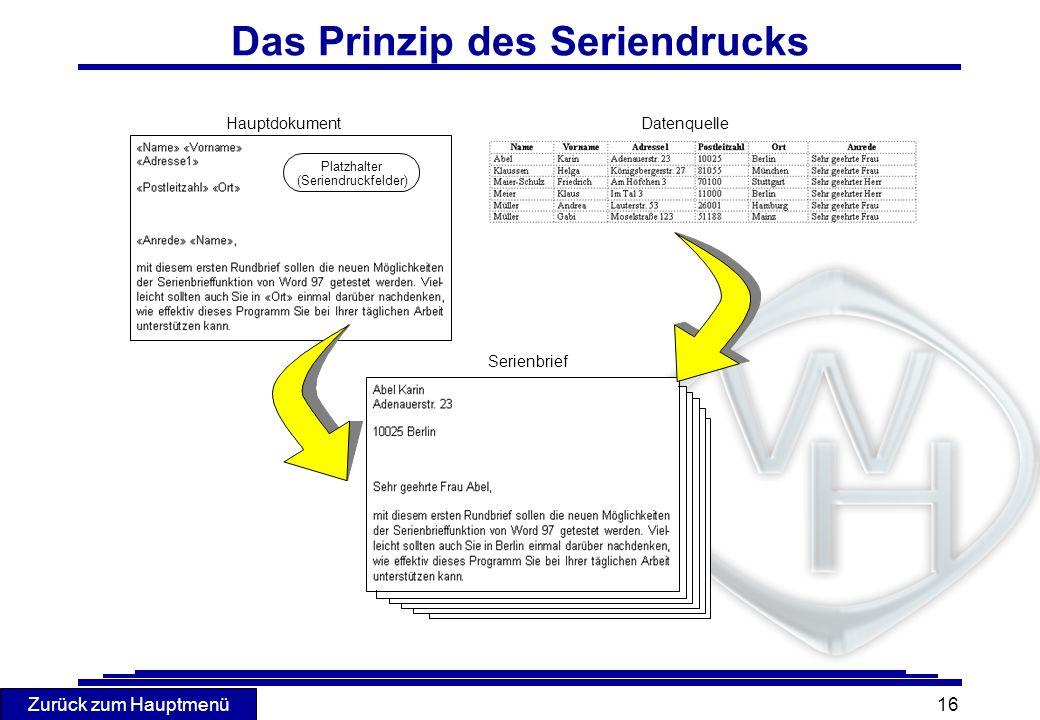 Zurück zum Hauptmenü 16 Das Prinzip des Seriendrucks HauptdokumentDatenquelle Serienbrief Platzhalter (Seriendruckfelder)