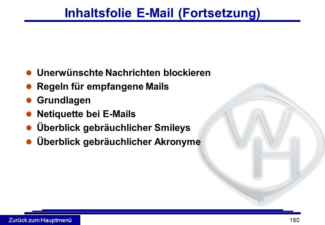 Zurück zum Hauptmenü 160 Inhaltsfolie E-Mail (Fortsetzung) l Unerwünschte Nachrichten blockieren l Regeln für empfangene Mails l Grundlagen l Netiquet
