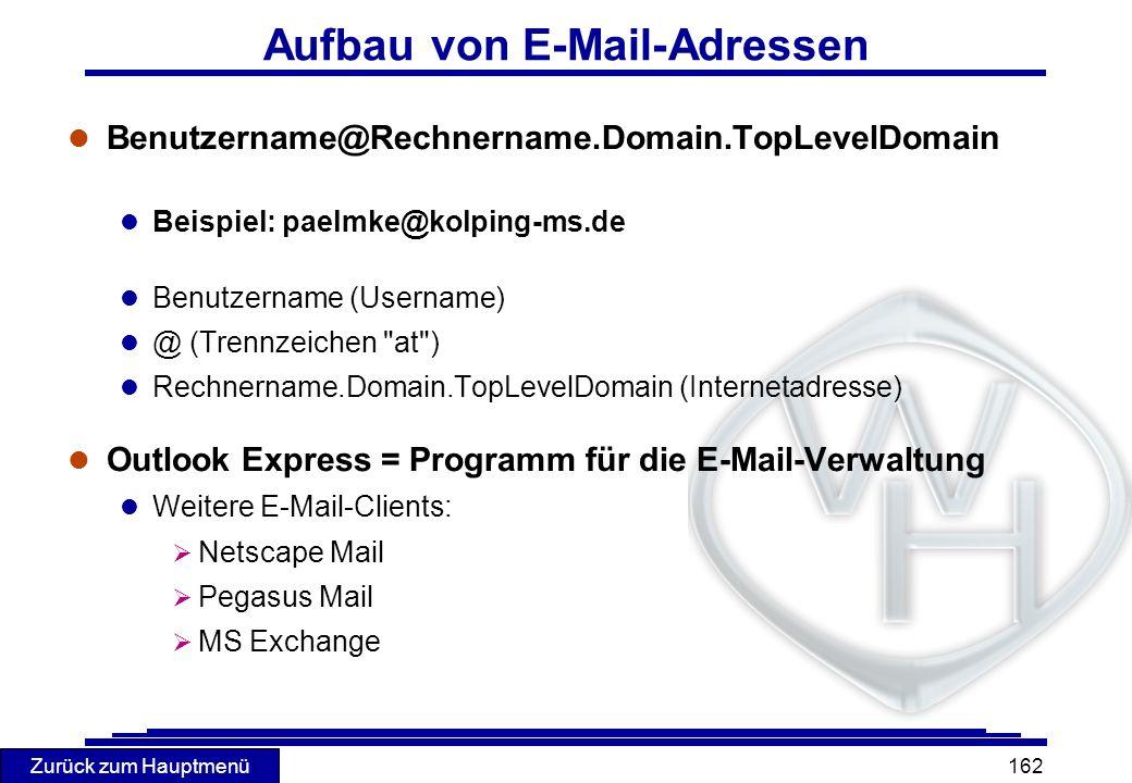 Zurück zum Hauptmenü 162 Aufbau von E-Mail-Adressen l Benutzername@Rechnername.Domain.TopLevelDomain l Beispiel: paelmke@kolping-ms.de l Benutzername