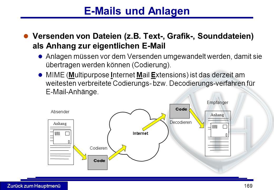 Zurück zum Hauptmenü 169 E-Mails und Anlagen l Versenden von Dateien (z.B. Text-, Grafik-, Sounddateien) als Anhang zur eigentlichen E-Mail l Anlagen