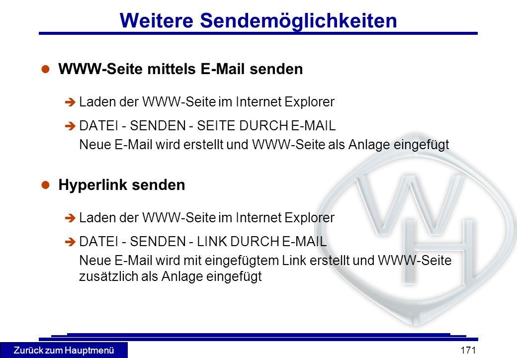 Zurück zum Hauptmenü 171 Weitere Sendemöglichkeiten l WWW-Seite mittels E-Mail senden è Laden der WWW-Seite im Internet Explorer è DATEI - SENDEN - SE