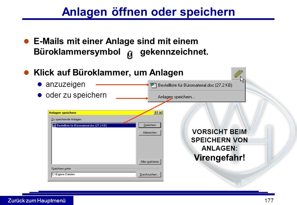 Zurück zum Hauptmenü 177 l E-Mails mit einer Anlage sind mit einem Büroklammersymbol gekennzeichnet. l Klick auf Büroklammer, um Anlagen l anzuzeigen