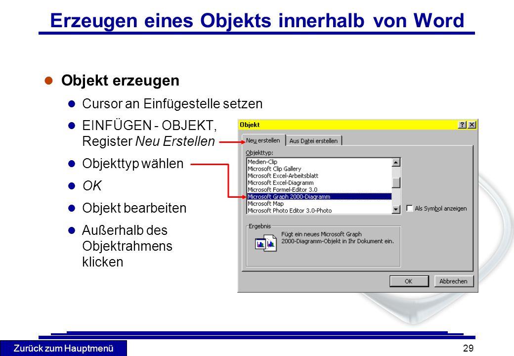 Zurück zum Hauptmenü 29 Erzeugen eines Objekts innerhalb von Word l Objekt erzeugen l Cursor an Einfügestelle setzen l EINFÜGEN - OBJEKT, Register Neu