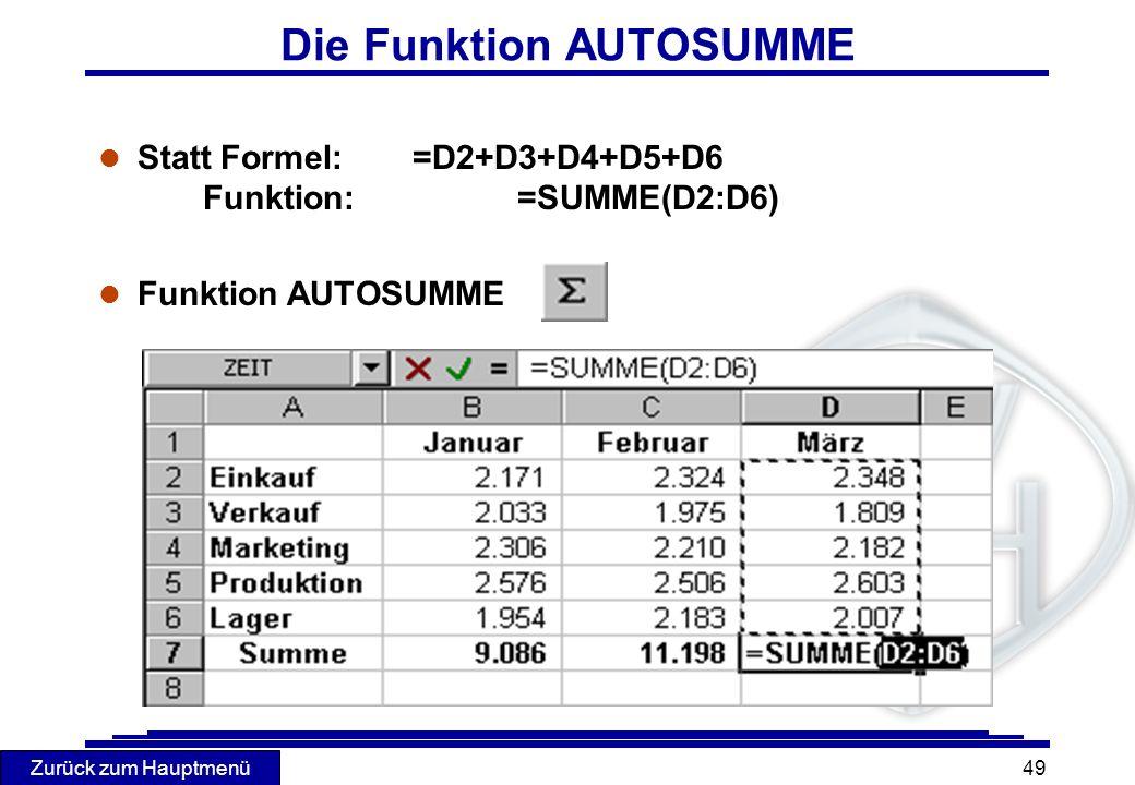 Zurück zum Hauptmenü 49 Die Funktion AUTOSUMME l Statt Formel:=D2+D3+D4+D5+D6 Funktion:=SUMME(D2:D6) l Funktion AUTOSUMME
