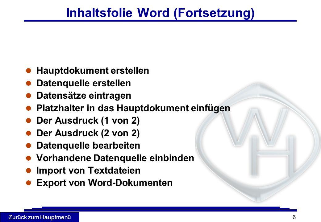 Zurück zum Hauptmenü 27 Import von Textdateien l Datei importieren l DATEI - ÖFFNEN l Importformat bestimmen Microsoft- Textprogramme WordPerfect Wordstar Rich-Text-Format (RTF) Textdateien (ASCII)