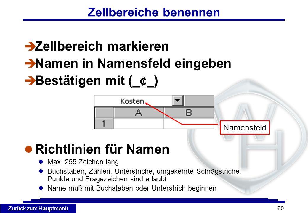 Zurück zum Hauptmenü 60 Zellbereiche benennen è Zellbereich markieren è Namen in Namensfeld eingeben Bestätigen mit (_¢_) l Richtlinien für Namen l Ma