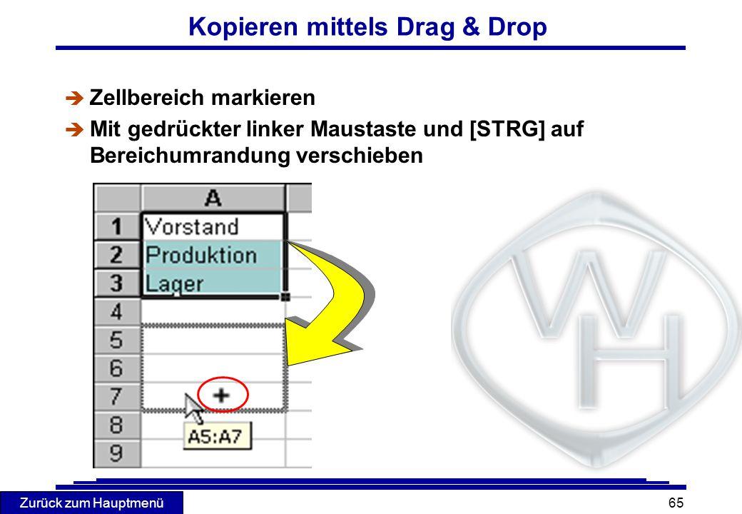 Zurück zum Hauptmenü 65 Kopieren mittels Drag & Drop è Zellbereich markieren Mit gedrückter linker Maustaste und [STRG] auf Bereichumrandung verschieb