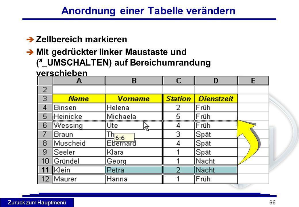 Zurück zum Hauptmenü 66 Anordnung einer Tabelle verändern è Zellbereich markieren Mit gedrückter linker Maustaste und (ª_UMSCHALTEN) auf Bereichumrand