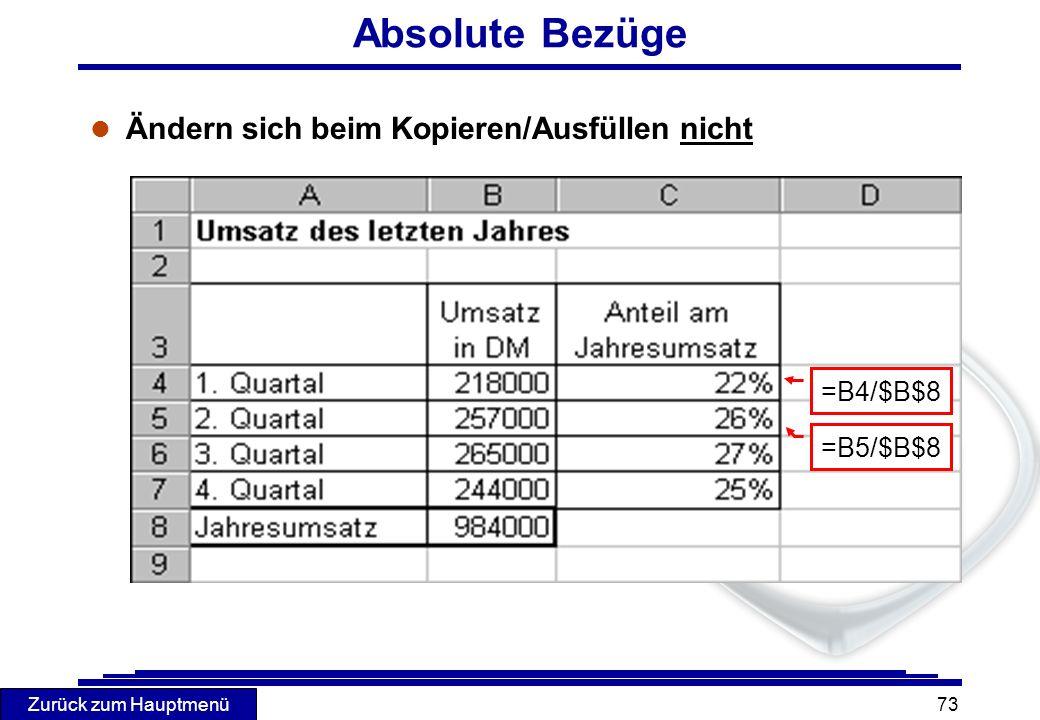 Zurück zum Hauptmenü 73 Absolute Bezüge l Ändern sich beim Kopieren/Ausfüllen nicht =B4/$B$8 =B5/$B$8