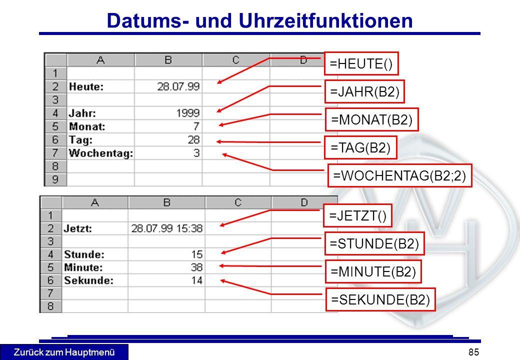 Zurück zum Hauptmenü 85 Datums- und Uhrzeitfunktionen =HEUTE() =JAHR(B2) =MONAT(B2) =TAG(B2) =WOCHENTAG(B2;2) =JETZT() =STUNDE(B2) =MINUTE(B2) =SEKUND