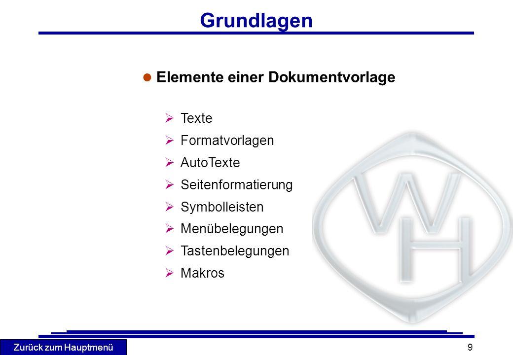 Zurück zum Hauptmenü 9 Grundlagen l Elemente einer Dokumentvorlage Texte Formatvorlagen AutoTexte Seitenformatierung Symbolleisten Menübelegungen Tast