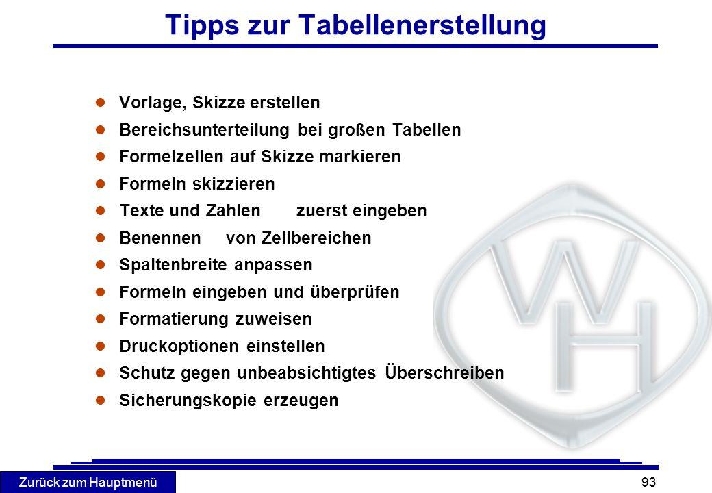 Zurück zum Hauptmenü 93 Tipps zur Tabellenerstellung l Vorlage, Skizze erstellen l Bereichsunterteilung bei großen Tabellen l Formelzellen auf Skizze