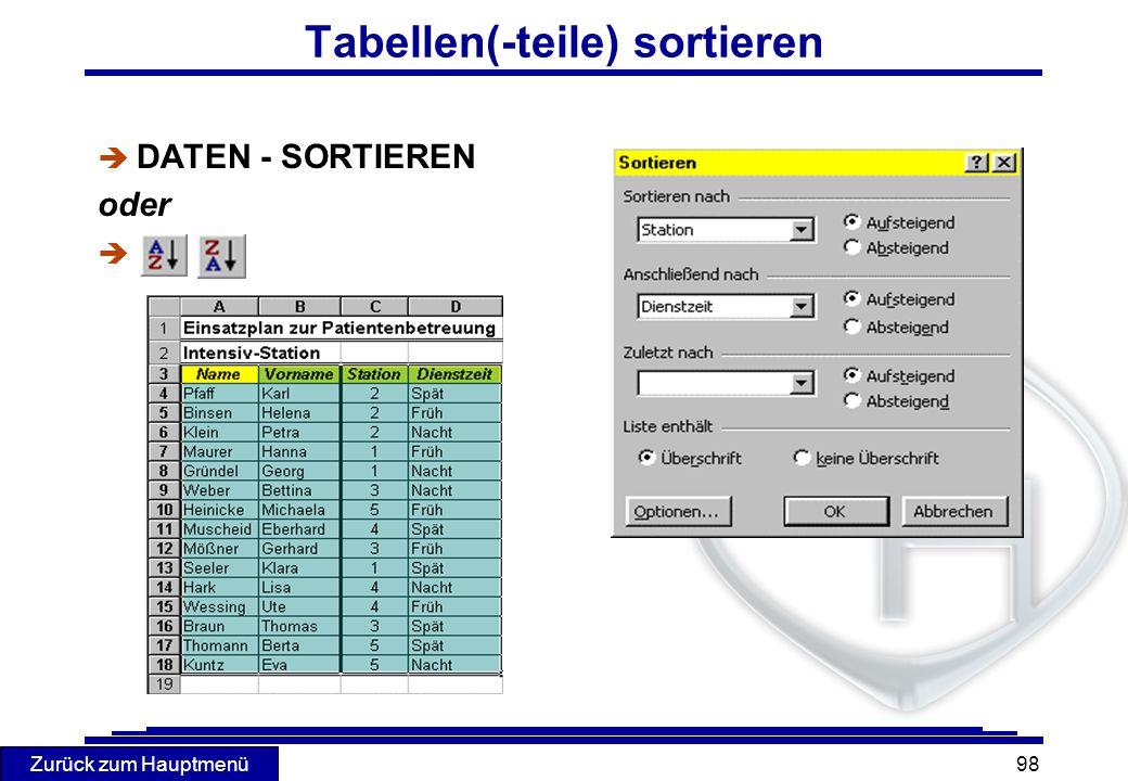 Zurück zum Hauptmenü 98 Tabellen(-teile) sortieren è DATEN - SORTIEREN oder è
