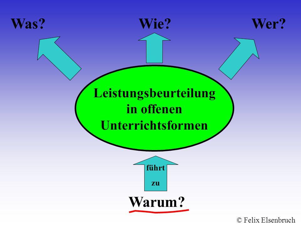 Leistungsbeurteilung in offenen Unterrichtsformen Warum? Wie?Wer?Was? führt zu © Felix Elsenbruch