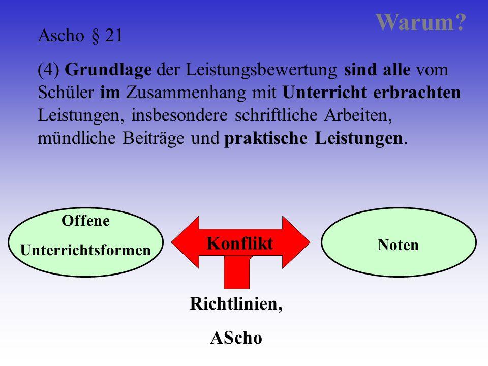 Offene Unterrichtsformen Noten Richtlinien, AScho Rahmen Konflikt Ascho § 21 (4) Grundlage der Leistungsbewertung sind alle vom Schüler im Zusammenhan
