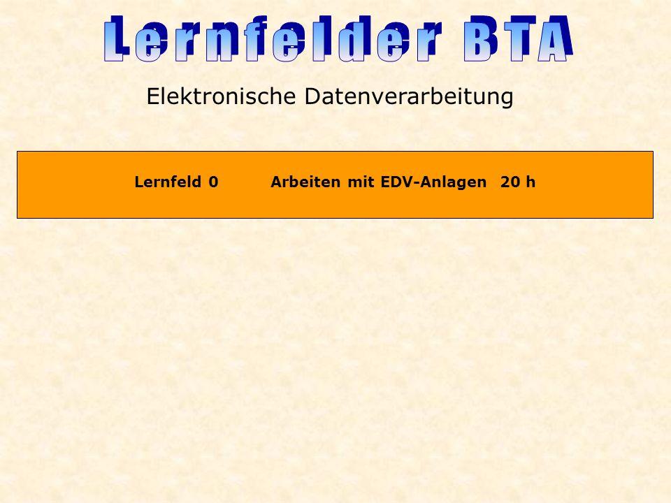 Lernfeld 0 Arbeiten mit EDV-Anlagen 20 h Elektronische Datenverarbeitung