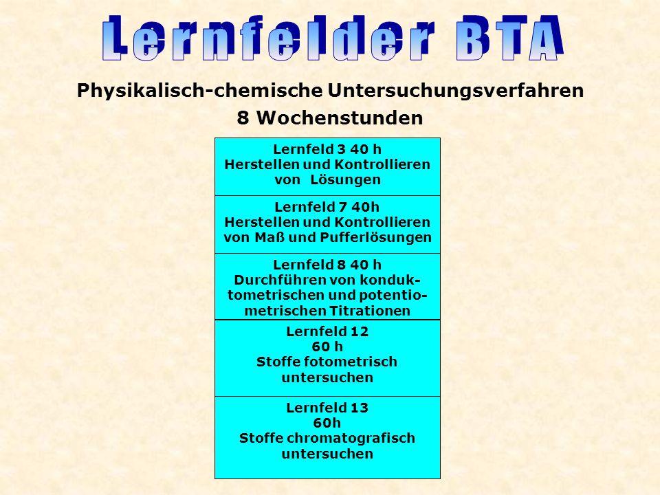 Lernfeld 3 40 h Herstellen und Kontrollieren von Lösungen Lernfeld 7 40h Herstellen und Kontrollieren von Maß und Pufferlösungen Lernfeld 13 60h Stoff