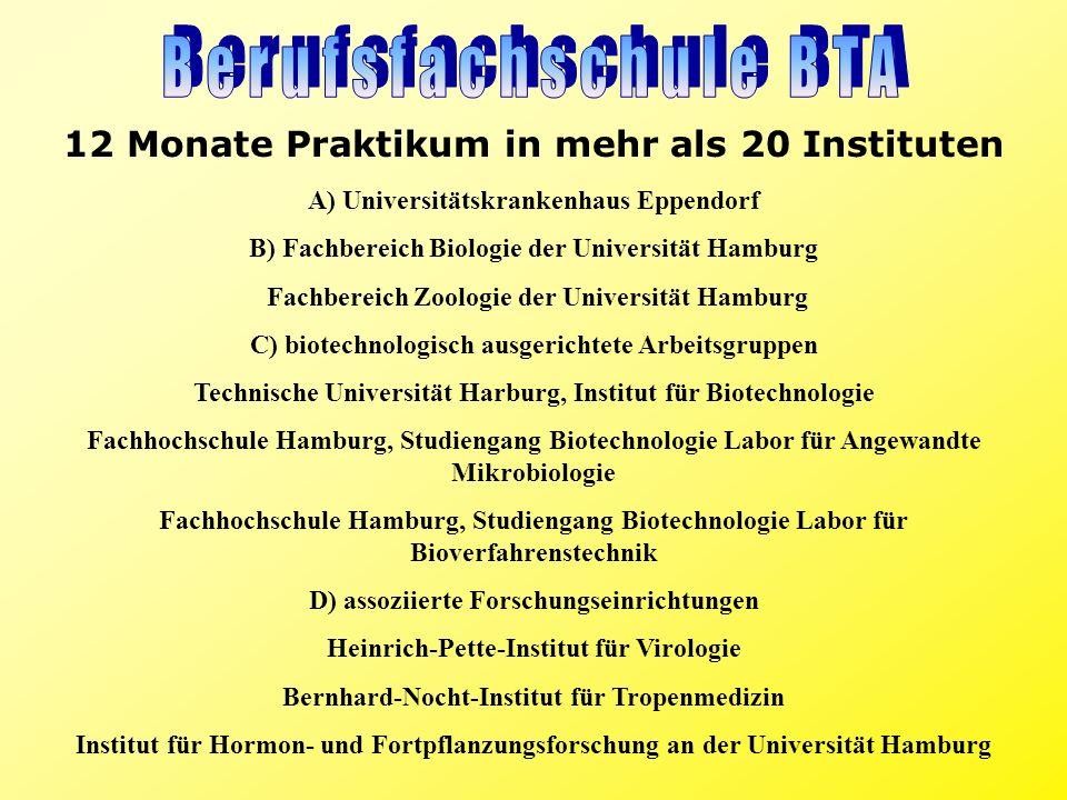 12 Monate Praktikum in mehr als 20 Instituten A) Universitätskrankenhaus Eppendorf B) Fachbereich Biologie der Universität Hamburg Fachbereich Zoologi