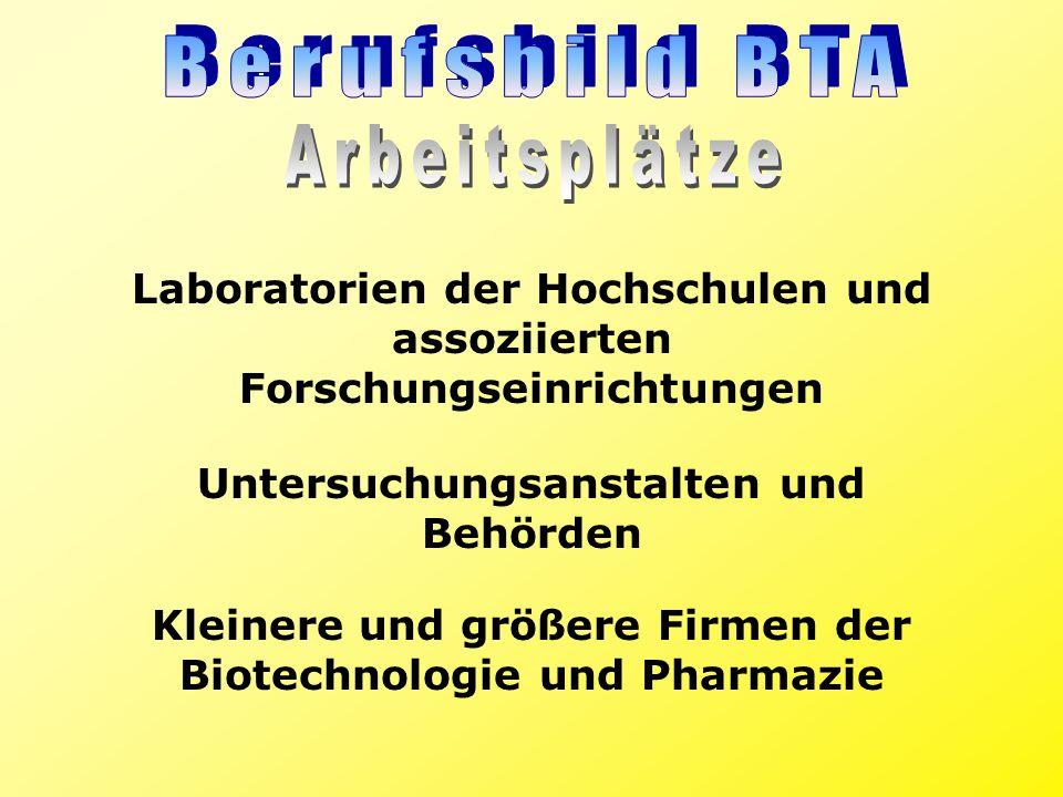 Laboratorien der Hochschulen und assoziierten Forschungseinrichtungen Untersuchungsanstalten und Behörden Kleinere und größere Firmen der Biotechnolog