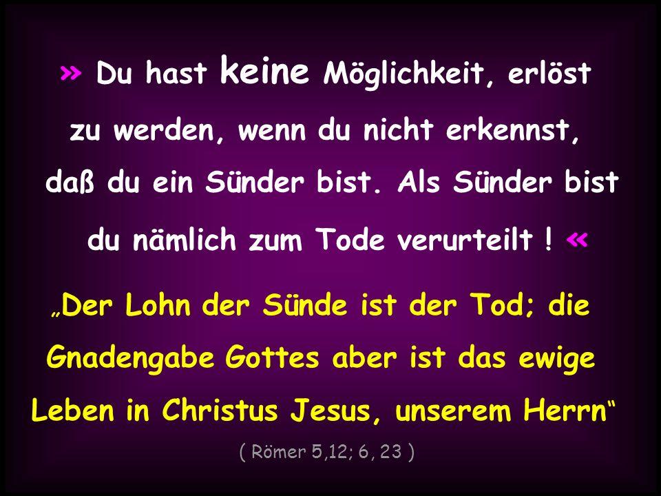 » Du hast keine Möglichkeit, erlöst zu werden, wenn du nicht erkennst, daß du ein Sünder bist. Als Sünder bist du nämlich zum Tode verurteilt ! « Der