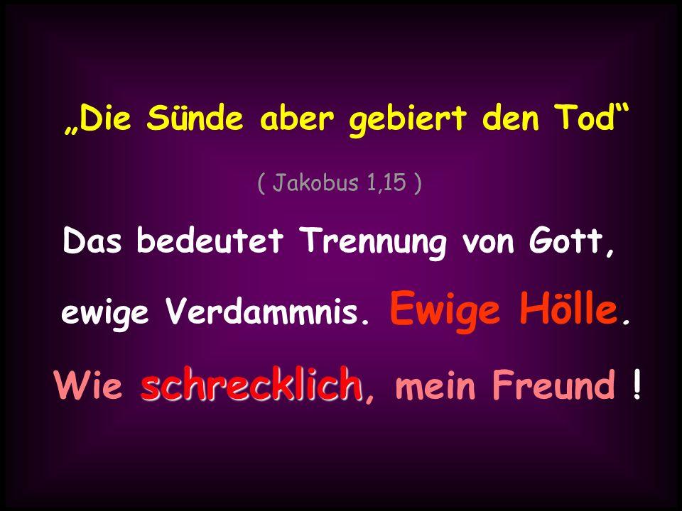 Die Sünde aber gebiert den Tod ( Jakobus 1,15 ) Das bedeutet Trennung von Gott, ewige Verdammnis. Ewige Hölle. schrecklich Wie schrecklich, mein Freun