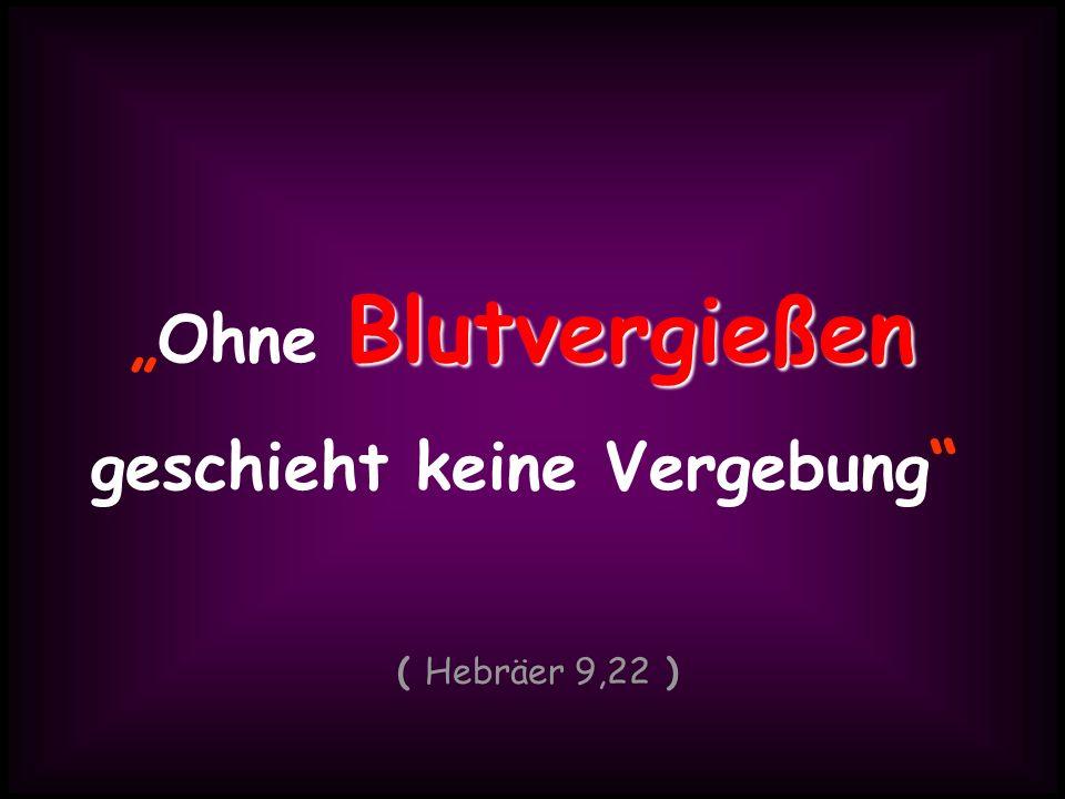 BlutvergießenOhne Blutvergießen geschieht keine Vergebung ( Hebräer 9,22 )