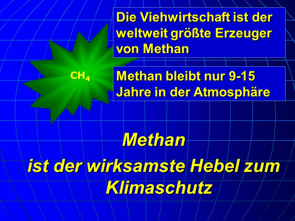 Methan ist der wirksamste Hebel zum Klimaschutz CH 4 Die Viehwirtschaft ist der weltweit größte Erzeuger von Methan Methan bleibt nur 9-15 Jahre in de