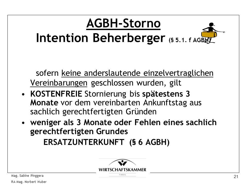 21 Mag. Sabine Pinggera RA Mag. Norbert Huber AGBH-Storno Intention Beherberger (§ 5.1. f AGBH) sofern keine anderslautende einzelvertraglichen Verein