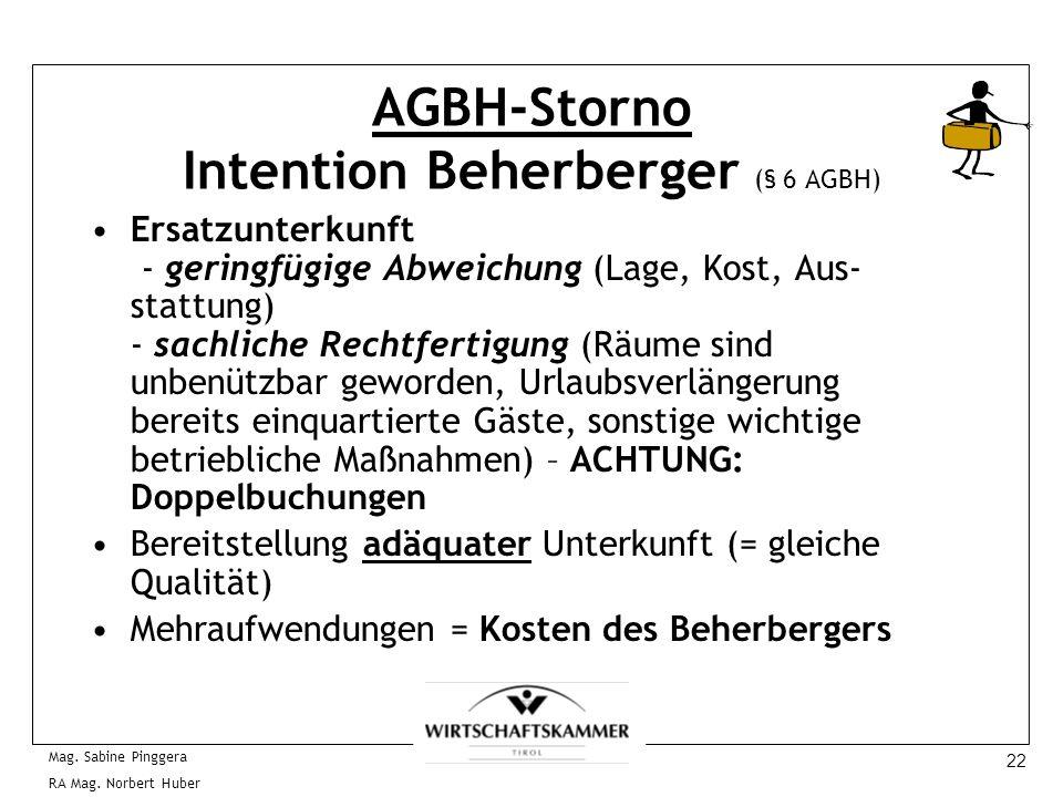22 Mag. Sabine Pinggera RA Mag. Norbert Huber AGBH-Storno Intention Beherberger (§ 6 AGBH) Ersatzunterkunft - geringfügige Abweichung (Lage, Kost, Aus