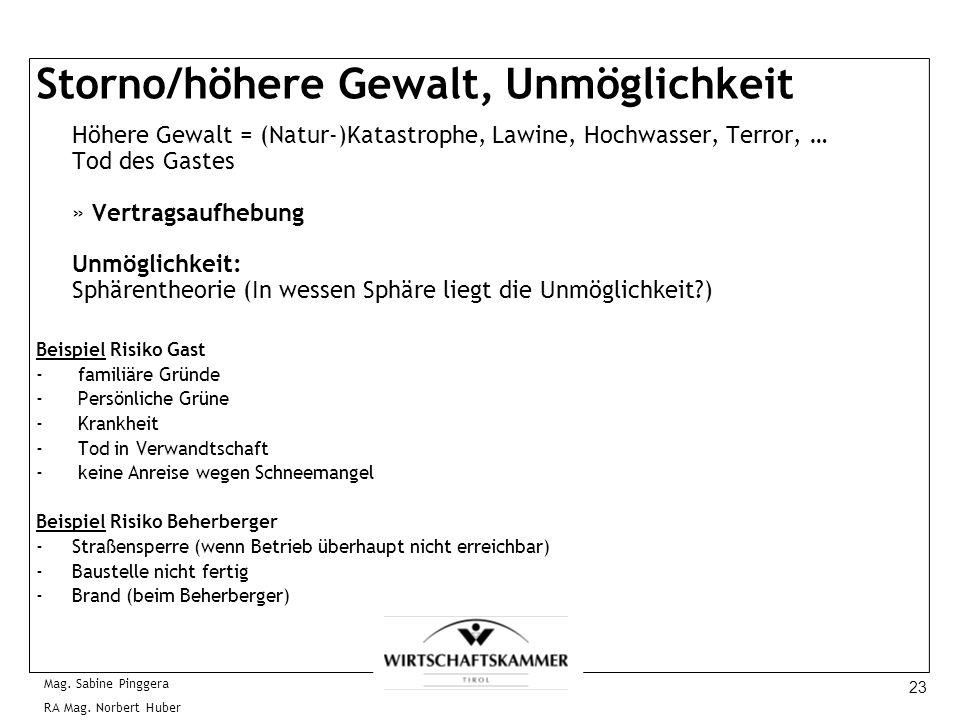23 Mag. Sabine Pinggera RA Mag. Norbert Huber Storno/höhere Gewalt, Unmöglichkeit Höhere Gewalt = (Natur-)Katastrophe, Lawine, Hochwasser, Terror, … T