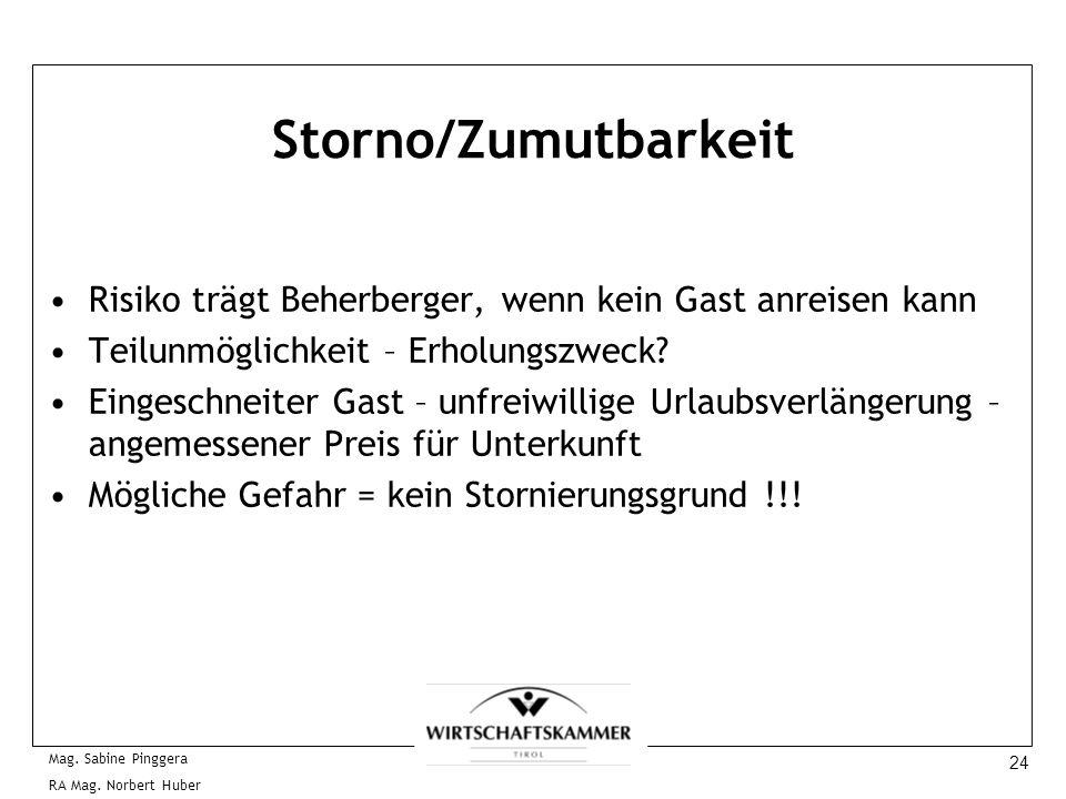 24 Mag. Sabine Pinggera RA Mag. Norbert Huber Storno/Zumutbarkeit Risiko trägt Beherberger, wenn kein Gast anreisen kann Teilunmöglichkeit – Erholungs