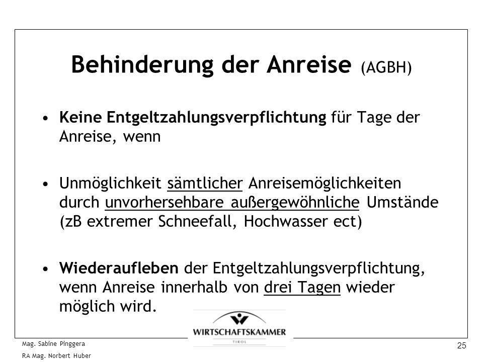 25 Mag. Sabine Pinggera RA Mag. Norbert Huber Behinderung der Anreise (AGBH) Keine Entgeltzahlungsverpflichtung für Tage der Anreise, wenn Unmöglichke